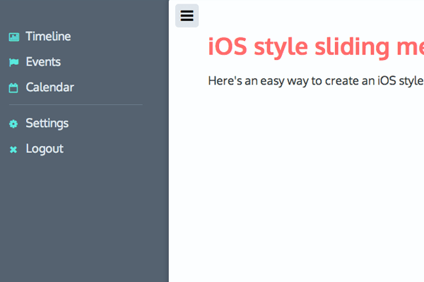 ios apple style mobile hidden sliding navigation codepen