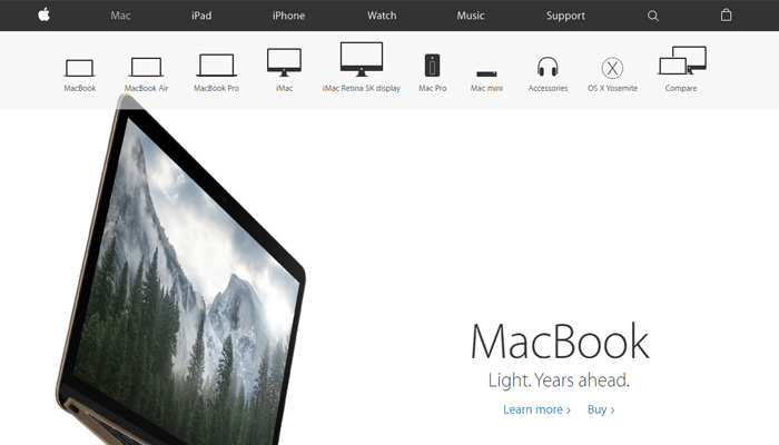 product page apple macbook