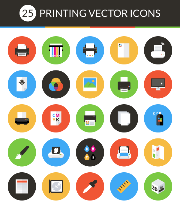 freebie vector print icon set 25 pack