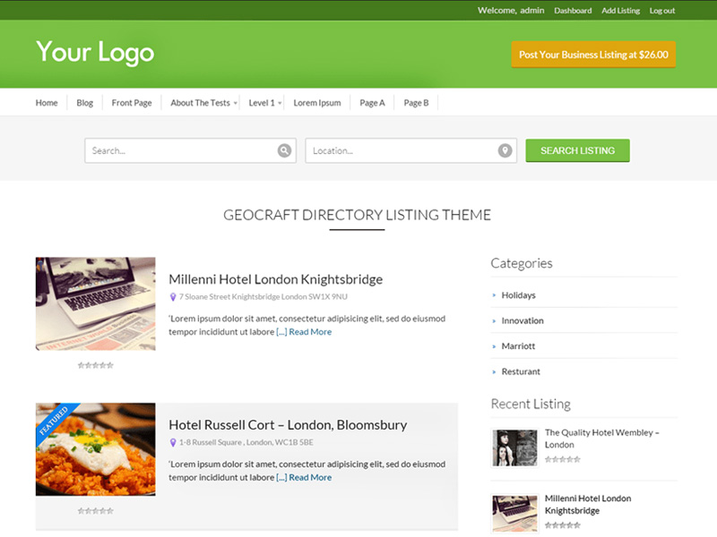 Business-Directory - one of 20 free wordpress themes for business consultants