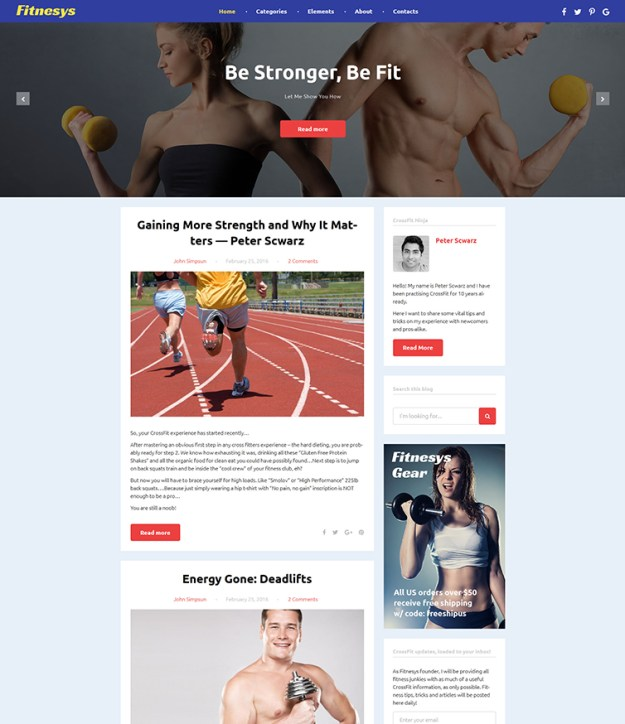 Fitnesys - blogging WordPress theme - GPL