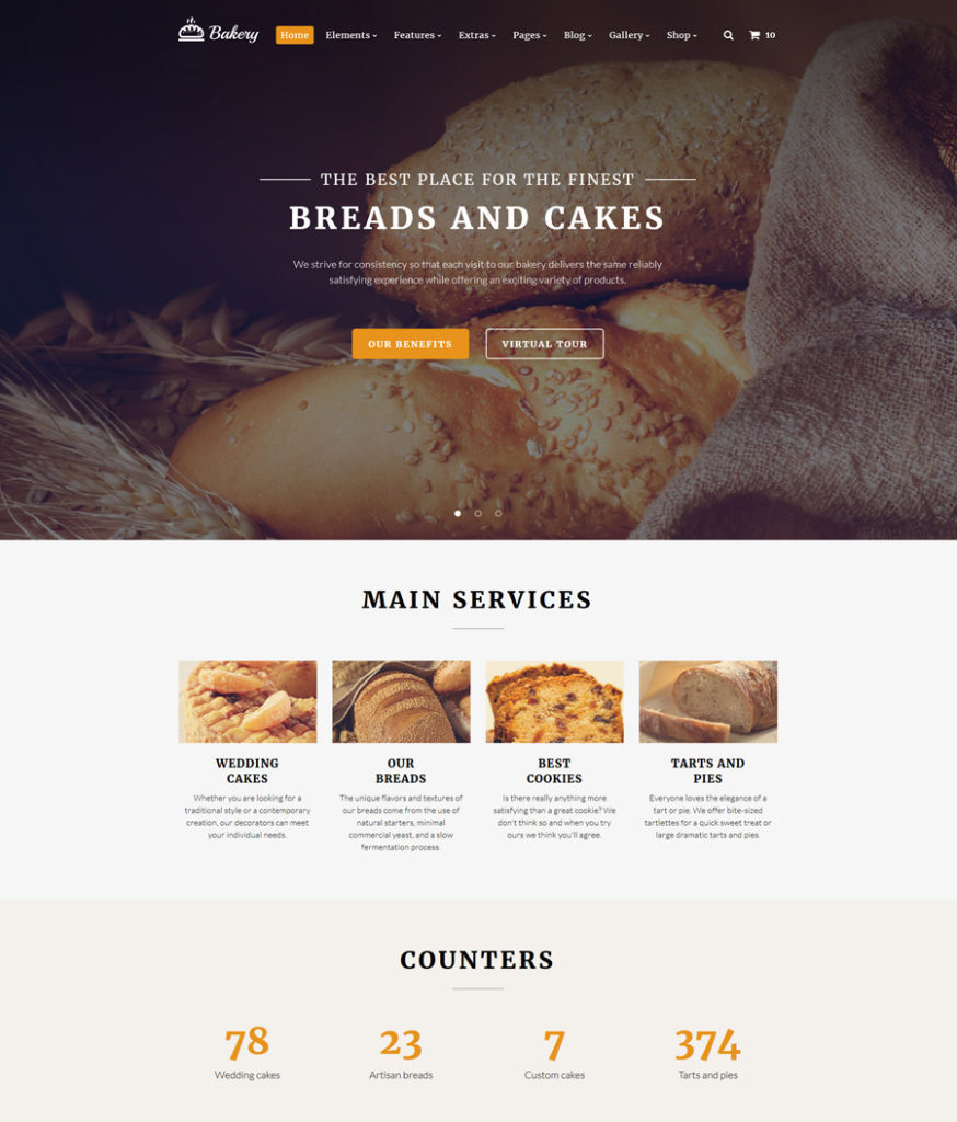 bakery - one of the best multipurpose website templates
