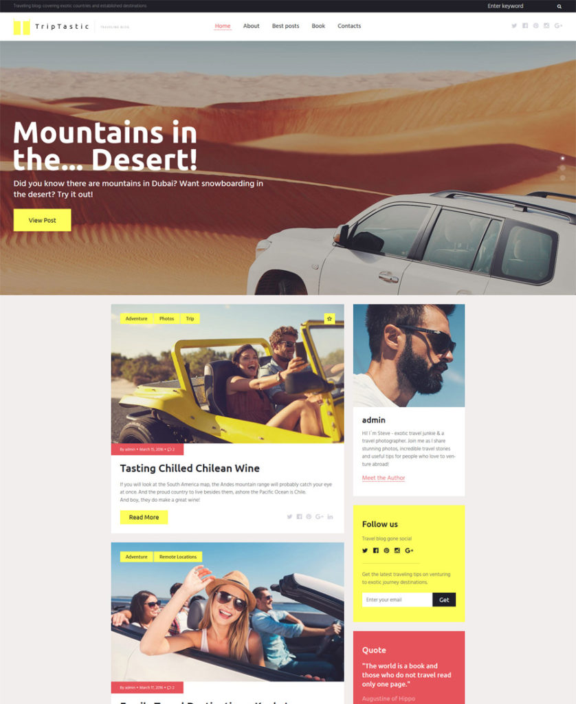 TripTastic---Travel-Blog-WordPress-Theme - responsive WordPress themes