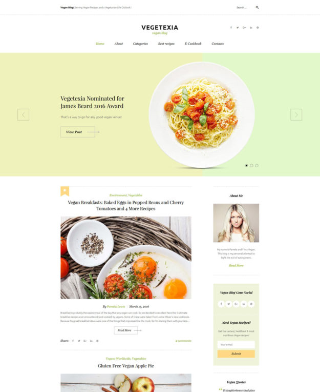 Vegetexia - Recipes Responsive WordPress Theme - responsive WordPress themes