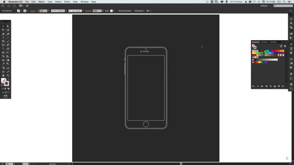Draw an iPhone 6 Wireframe in Illustrator   Wanderlust Web Design     draw iphone wireframe 5
