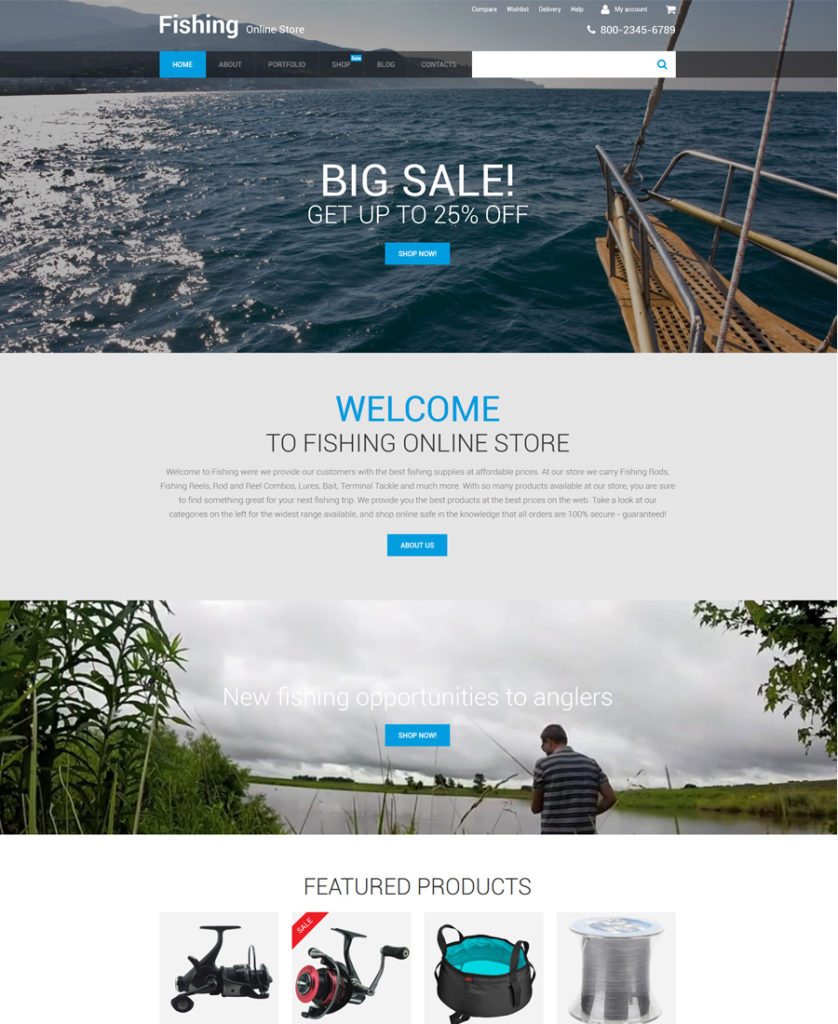 Fishing Online Store WooCommerce Theme - responsive eCommerce templates