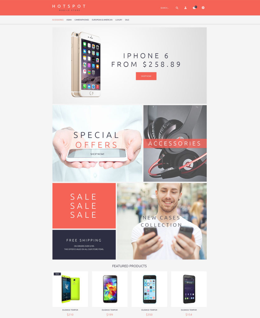 Mobile Shop OpenCart Template (free)