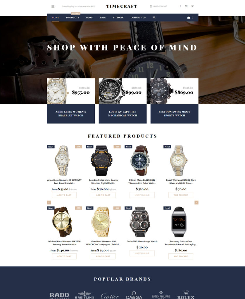 Time Craft Shopify Theme - responsive eCommerce templates