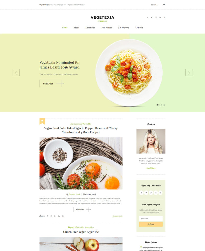 Vegetexia - Recipes Responsive WordPress Theme