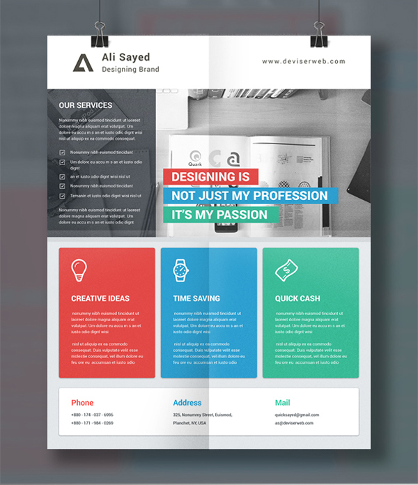 3-Material Style Business Flyer'