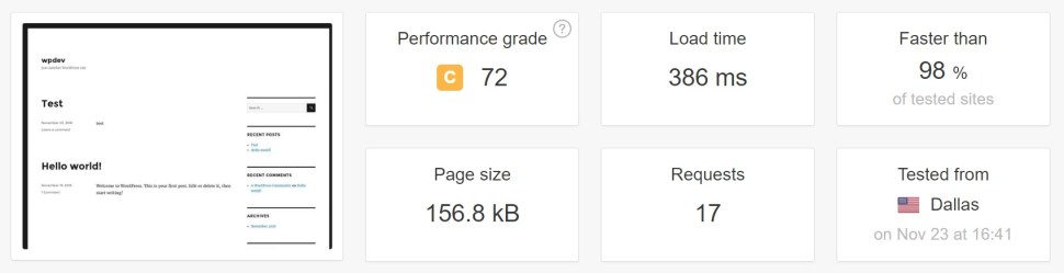kinsta fresh install page load speed