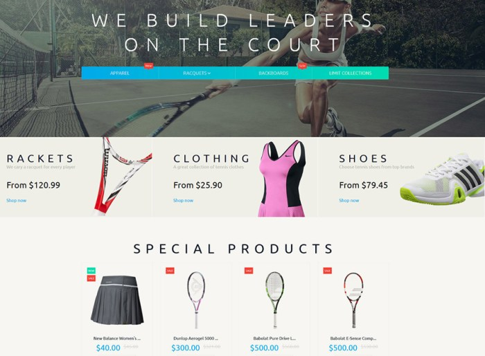 Tennis Accessories Magento Theme
