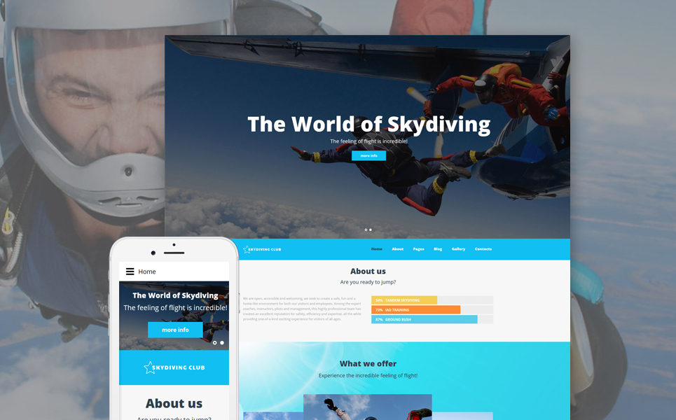 Skydiving Joomla Theme