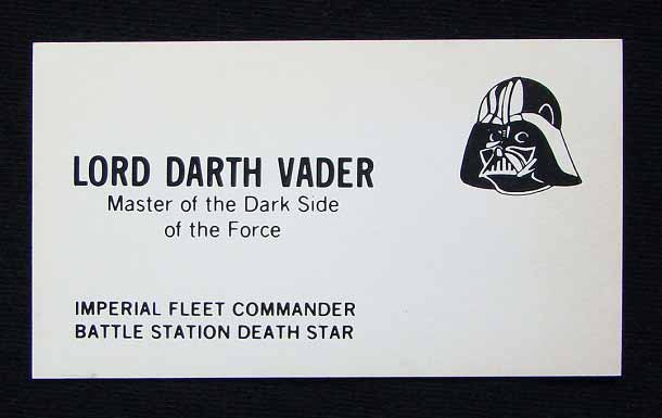 Darth Vader's Business Card