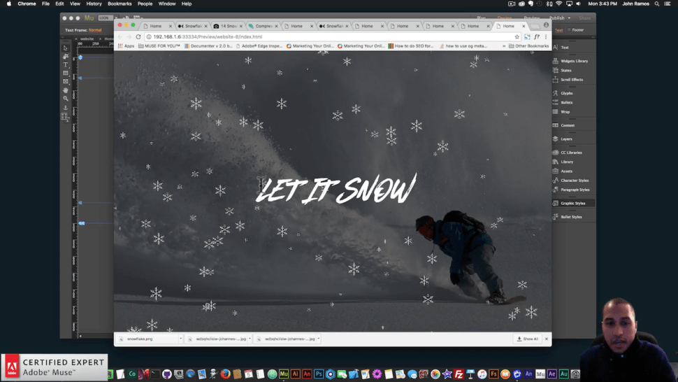 Muse For You - How to Add Snowflakes - Adobe Muse CC