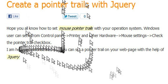 Create a pointer trails with jQuery