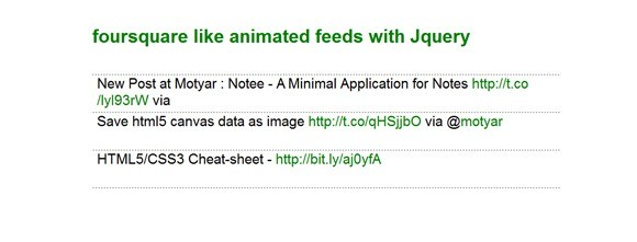 Foursquare.com like Animated Feeds Display with jQuery