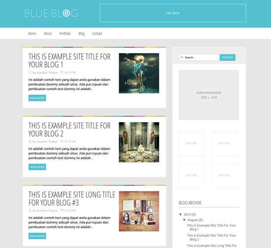 blue blog free blogger template