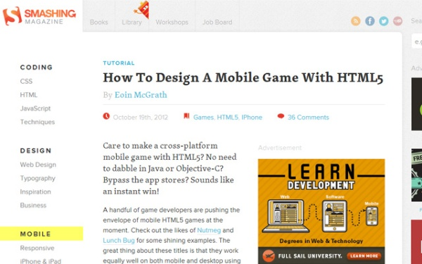 Design A Mobile Game with HTML5