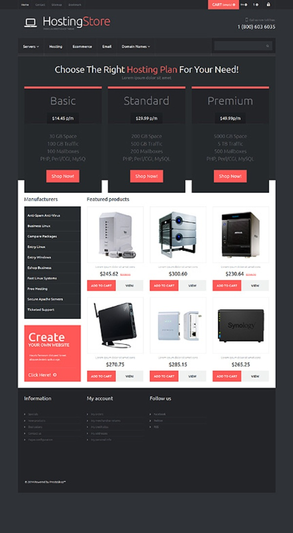 Soft Black&Red Hosting PrestaShop Theme