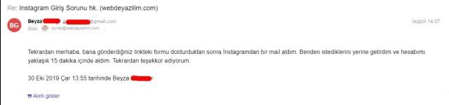 instagram dondurulan hesabı geri açma