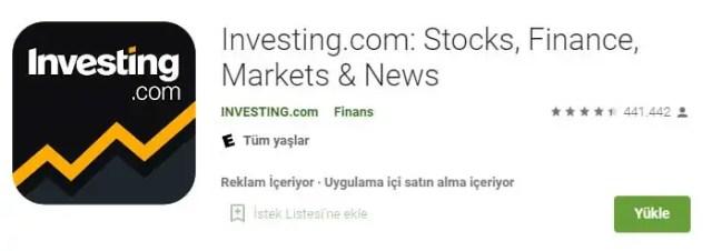 investing borsa uygulaması