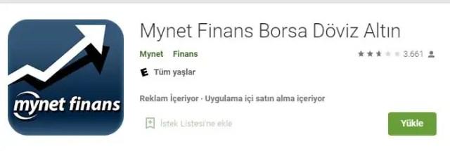 mynet finans borsa uygulaması