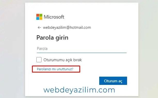 hotmail şifre sıfırlama