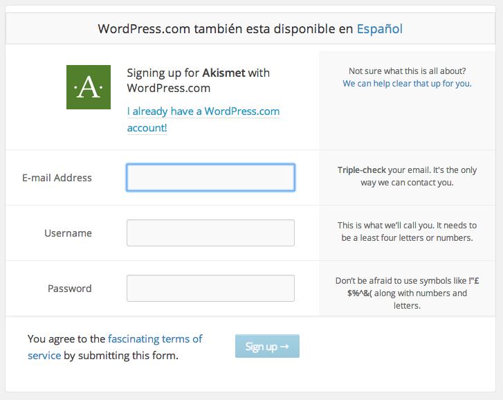 Akismet - Cuenta WordPress