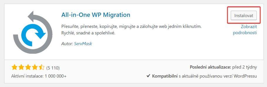 migration - obrázek pluginu