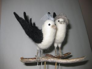 """Barn Swallow"" Cake topper needle felted"