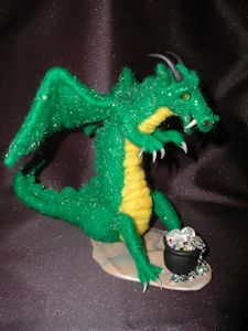 """""""Dragon admires Jewels"""" needle felted wool and angelina"""