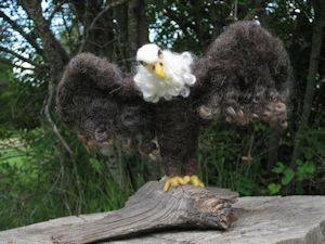 """Eagle"" needle felted with wool and wool locks"