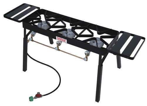 Bayou Classic TB650 Triple Burner Outdoor Patio Stove with Extension Legs