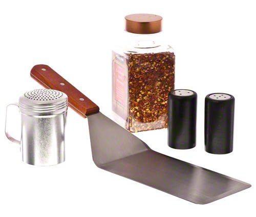 Update International WTSD-48 Stainless Steel Solid Turner with Cutting Edge and Wood Handle, 15-3/4-Inch