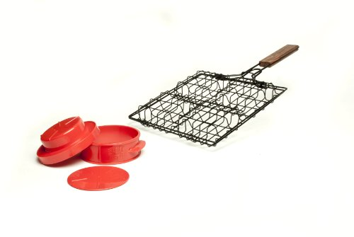 Charcoal Companion Stuff-A-Burger 2PC Set / Basket & Press – CC3518