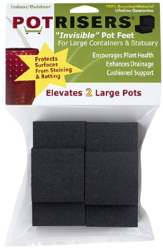 Potrisers PR2-6 Invisible Pot Feet for Large Pots, Black,  6 Pack supports 2 large Pots or Statuary