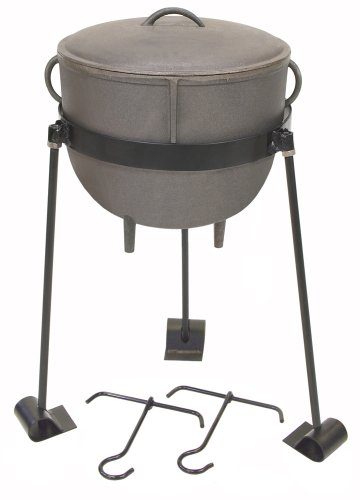 Bayou Classic CI-7411, 4-Gal. Cast Iron Stew Pot, Cast Iron Lid, Tripod Stand with Foot Pads, and 2 Lift Hooks