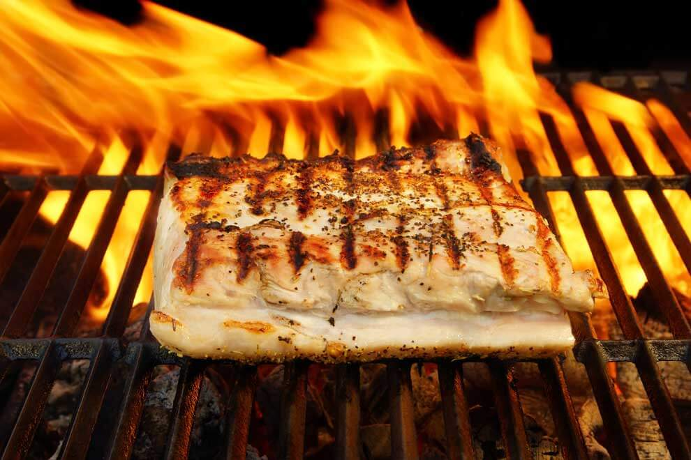 Grilled Pork Sirloin, high flames