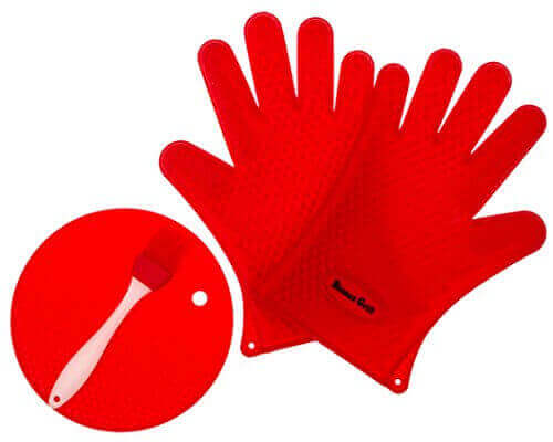 BINNAX GRILL Silicone Gloves BBQ Heat Resistant Grilling Oven Mitts Basting Brush Round Pot Holder For Cooking Baking and Barbecue.