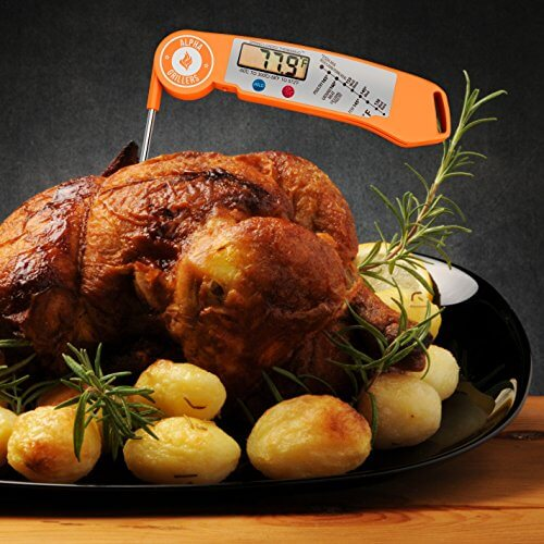 Alpha Grillers Instant Read Thermometer. Ultra Fast Digital Cooking Tool With BBQ Internal Meat Temperature Chart. (Spring Loaded Thermabud)
