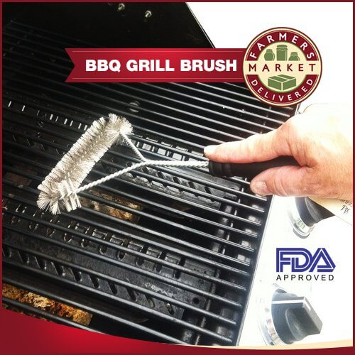 Wire Grill Brush 12″ – Heavy Duty Stainless Steel BBQ Grill Brush – The Best Way to Easily Clean Your Barbecue Grill in Minutes – Perfect for Cleaning Weber Grills Quickly – This 3 sided brush is stronger than a grill scraper – Simply Clean with Hot Water – Free Bonus Recipe eBook