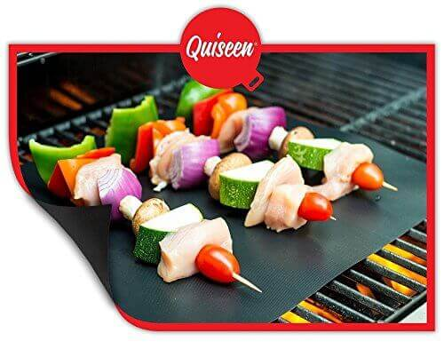Quiseen BBQ Grill Mat – Set of 2 Mats – PFOA free – High Quality, Thick,  Durable, Non-Stick, Heat Resistant and Dishwasher Safe