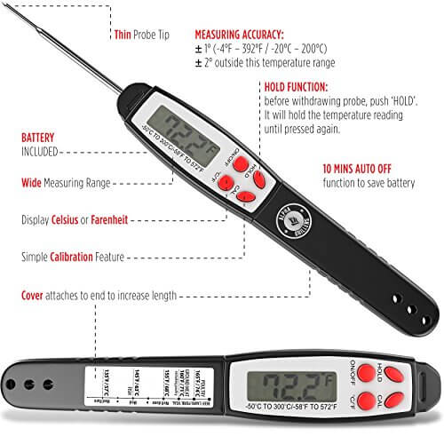 Alpha Grillers Instant Read Food Thermometer. Fully Waterproof Cooking Tool. Includes Internal Meat Temperature Guide