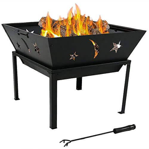 Sunnydaze Outdoor Square Stars and Moons Fire Pit, 22 Inch