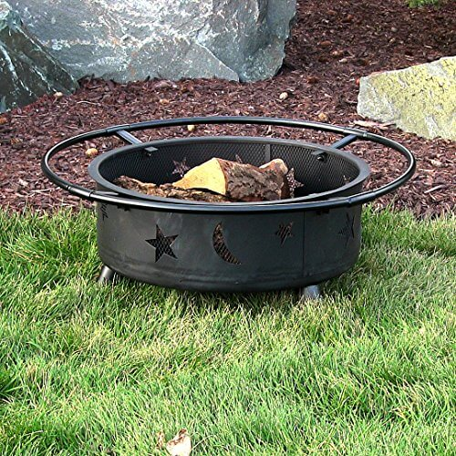 Sunnydaze Stars and Moons Wood Burning Fire Pit with Wood Grate, 30 Inch Diameter
