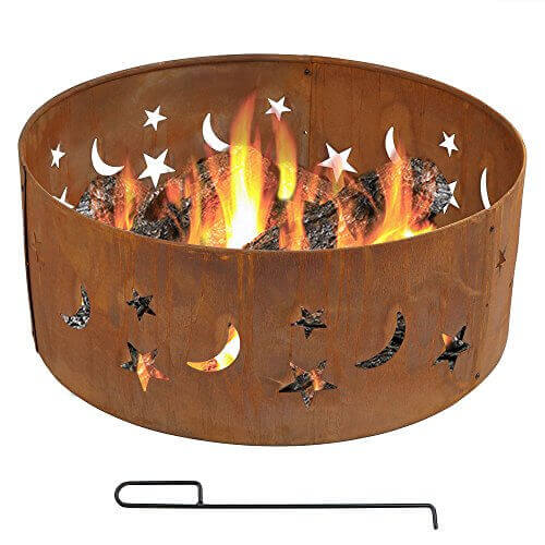 Sunnydaze Round Rustic Stars and Moons Fire Pit Ring, 30 Inch Diameter
