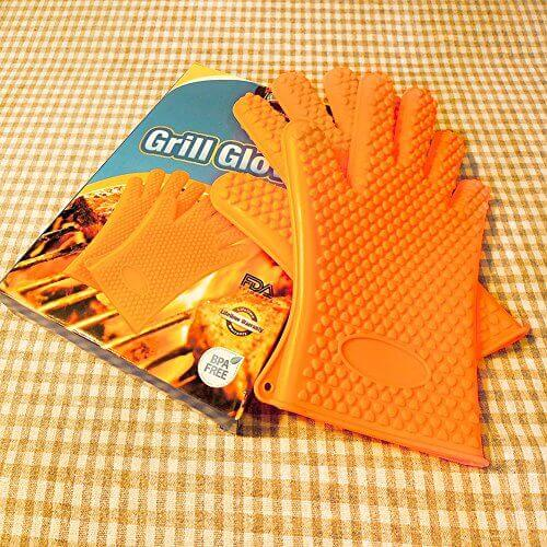Silicone Grilling BBQ Gloves Thickened to 4mm, More Heat Resistant for Barbecue, Oven Baking, Smoking and Cooking Potholder