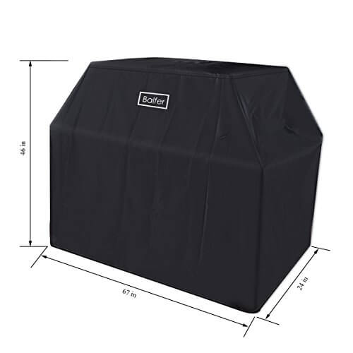 Balfer Barbecue Grill Cover Heavy Duty Durable Polyester Waterproof Large 67-inch (Black)
