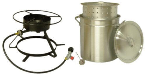 King Kooker 5012 Portable Propane Outdoor Boiling and Steaming Cooker Package with 50-Quart Aluminum Pot and Steaming Basket